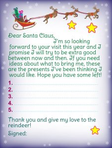 Template for letter to Santa Claus and Christmas list, promising to be good