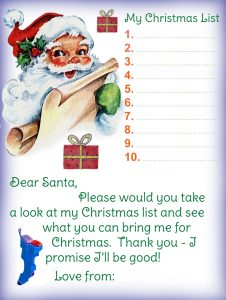 Printable letter to Santa listing the presents your child would like him to bring