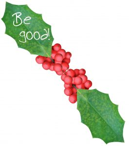 """An elf message written on a leaf saying """"Be good!"""""""