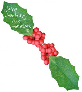 """An elf message written on a leaf saying """"We're Watching!"""""""