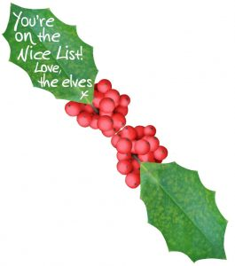 """An elf message written on a leaf saying """"You're on the nice list!"""""""