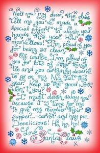 A printable note from Santa saying well done for washing your hands