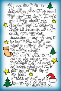 A note from Santa saying that he will still be delivering presents this Christmas, in spite of the coronavirus.
