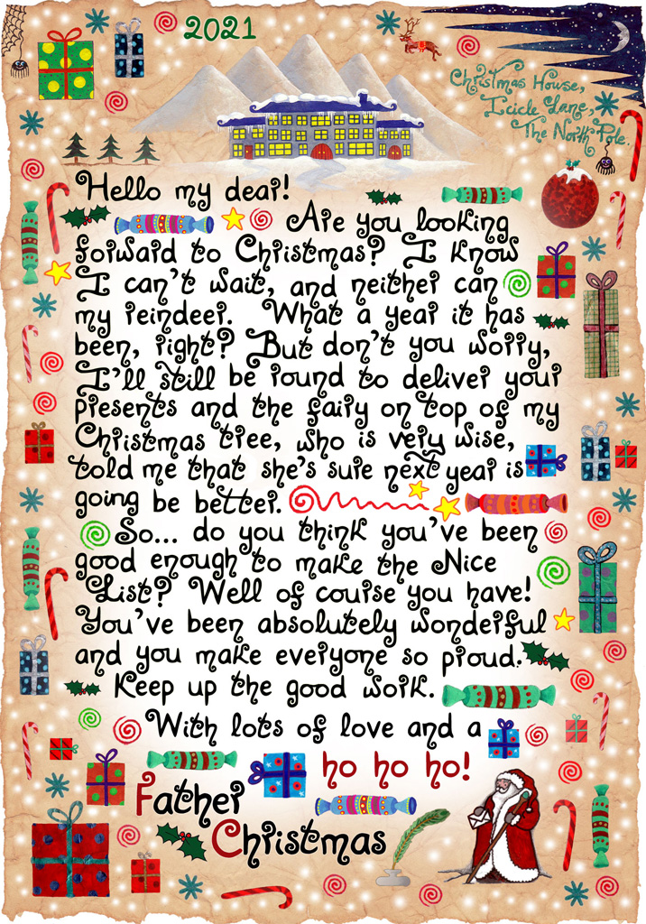 Free letter from Santa saying that he's sure next year will be better. It was written with the Covid-19 pandemic in mind, to spread a bit of Christmas joy!