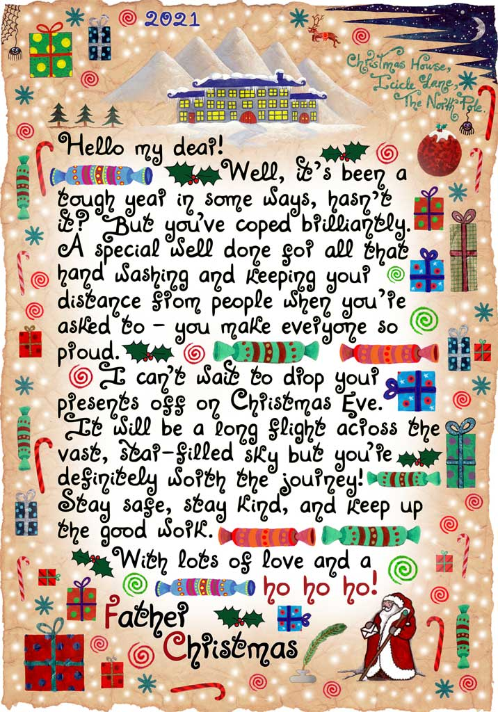This is a free letter from Santa letting a child know how proud he is that they've been washing hands and keeping social distance during the pandemic. It is intended to spread a little free Christmas magic at a difficult time.