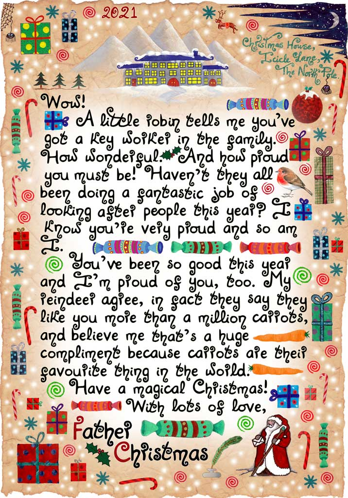 This letter from Father Christmas is specially written for any child who has a key worker in the family. It's meant to spread a little bit of magic in 2020. It can be read any time - on Christmas Day or before,